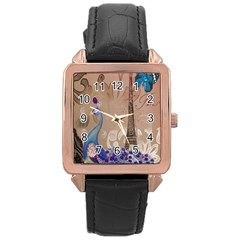 Modern Butterfly  Floral Paris Eiffel Tower Decor Rose Gold Leather Watch