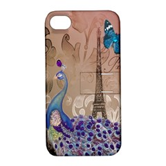 Modern Butterfly  Floral Paris Eiffel Tower Decor Apple Iphone 4/4s Hardshell Case With Stand