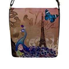 Modern Butterfly  Floral Paris Eiffel Tower Decor Flap Closure Messenger Bag (Large)