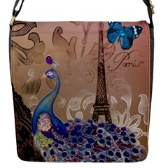 Modern Butterfly  Floral Paris Eiffel Tower Decor Flap closure messenger bag (Small)