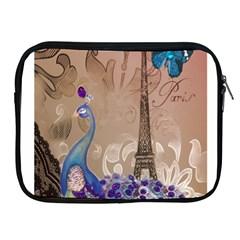Modern Butterfly  Floral Paris Eiffel Tower Decor Apple iPad 2/3/4 Zipper Case
