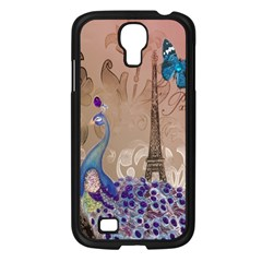 Modern Butterfly  Floral Paris Eiffel Tower Decor Samsung GALAXY S4 I9500/ I9505 (Black)