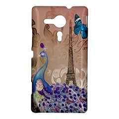 Modern Butterfly  Floral Paris Eiffel Tower Decor Sony Xperia Sp M35H Hardshell Case