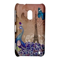 Modern Butterfly  Floral Paris Eiffel Tower Decor Nokia Lumia 620 Hardshell Case