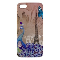 Modern Butterfly  Floral Paris Eiffel Tower Decor iPhone 5S Premium Hardshell Case