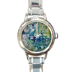 French Scripts Vintage Peacock Floral Paris Decor Round Italian Charm Watch
