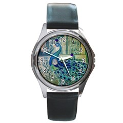 French Scripts Vintage Peacock Floral Paris Decor Round Metal Watch (silver Rim)