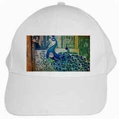 French Scripts Vintage Peacock Floral Paris Decor White Baseball Cap