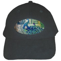 French Scripts Vintage Peacock Floral Paris Decor Black Baseball Cap
