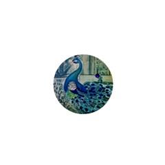 French Scripts Vintage Peacock Floral Paris Decor 1  Mini Button