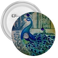French Scripts Vintage Peacock Floral Paris Decor 3  Button
