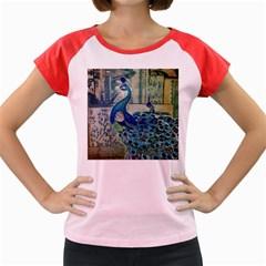 French Scripts Vintage Peacock Floral Paris Decor Women s Cap Sleeve T-Shirt (Colored)