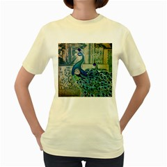 French Scripts Vintage Peacock Floral Paris Decor  Womens  T-shirt (Yellow)