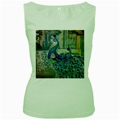 French Scripts Vintage Peacock Floral Paris Decor Womens  Tank Top (Green)