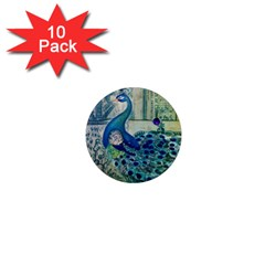 French Scripts Vintage Peacock Floral Paris Decor 1  Mini Button Magnet (10 Pack)