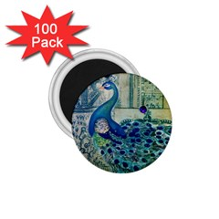 French Scripts Vintage Peacock Floral Paris Decor 1 75  Button Magnet (100 Pack)