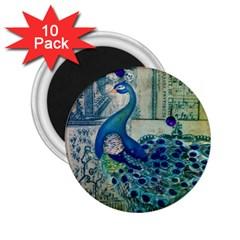 French Scripts Vintage Peacock Floral Paris Decor 2.25  Button Magnet (10 pack)