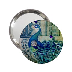 French Scripts Vintage Peacock Floral Paris Decor Handbag Mirror (2.25 )