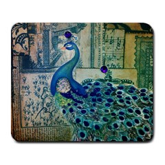 French Scripts Vintage Peacock Floral Paris Decor Large Mouse Pad (Rectangle)