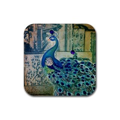 French Scripts Vintage Peacock Floral Paris Decor Drink Coasters 4 Pack (Square)