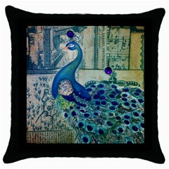 French Scripts Vintage Peacock Floral Paris Decor Black Throw Pillow Case