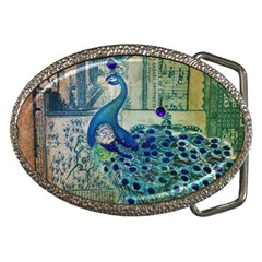 French Scripts Vintage Peacock Floral Paris Decor Belt Buckle (Oval)