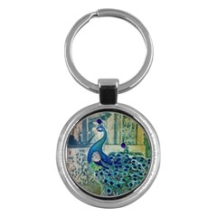 French Scripts Vintage Peacock Floral Paris Decor Key Chain (Round)