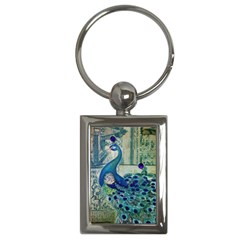 French Scripts Vintage Peacock Floral Paris Decor Key Chain (rectangle)