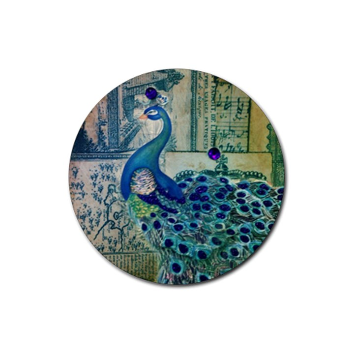 French Scripts Vintage Peacock Floral Paris Decor Drink Coaster (Round)
