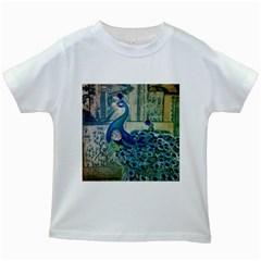 French Scripts Vintage Peacock Floral Paris Decor Kids' T-shirt (White)