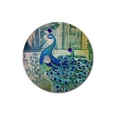French Scripts Vintage Peacock Floral Paris Decor Magnet 3  (Round)