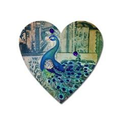 French Scripts Vintage Peacock Floral Paris Decor Magnet (Heart)