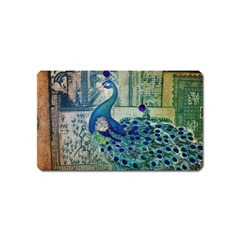French Scripts Vintage Peacock Floral Paris Decor Magnet (Name Card)