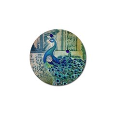 French Scripts Vintage Peacock Floral Paris Decor Golf Ball Marker 4 Pack