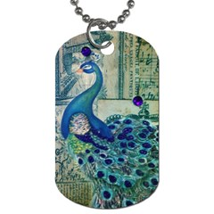 French Scripts Vintage Peacock Floral Paris Decor Dog Tag (two Sided)