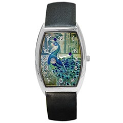 French Scripts Vintage Peacock Floral Paris Decor Tonneau Leather Watch