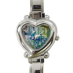 French Scripts Vintage Peacock Floral Paris Decor Heart Italian Charm Watch