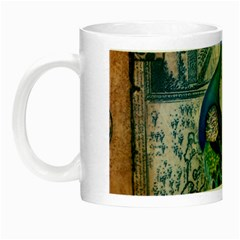 French Scripts Vintage Peacock Floral Paris Decor Glow In The Dark Mug