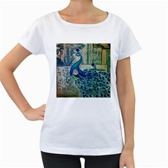 French Scripts Vintage Peacock Floral Paris Decor Womens' Maternity T-shirt (White)