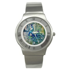French Scripts Vintage Peacock Floral Paris Decor Stainless Steel Watch (unisex)