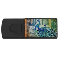 French Scripts Vintage Peacock Floral Paris Decor 4gb Usb Flash Drive (rectangle)