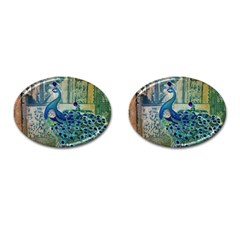 French Scripts Vintage Peacock Floral Paris Decor Cufflinks (Oval)