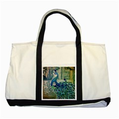 French Scripts Vintage Peacock Floral Paris Decor Two Toned Tote Bag