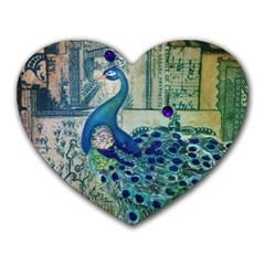 French Scripts Vintage Peacock Floral Paris Decor Mouse Pad (Heart)