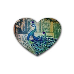French Scripts Vintage Peacock Floral Paris Decor Drink Coasters 4 Pack (heart)