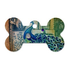 French Scripts Vintage Peacock Floral Paris Decor Dog Tag Bone (Two Sided)