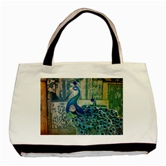 French Scripts Vintage Peacock Floral Paris Decor Twin-sided Black Tote Bag