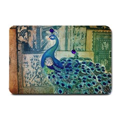 French Scripts Vintage Peacock Floral Paris Decor Small Door Mat