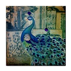 French Scripts Vintage Peacock Floral Paris Decor Face Towel