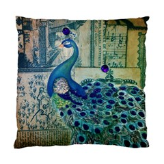 French Scripts Vintage Peacock Floral Paris Decor Cushion Case (Single Sided)